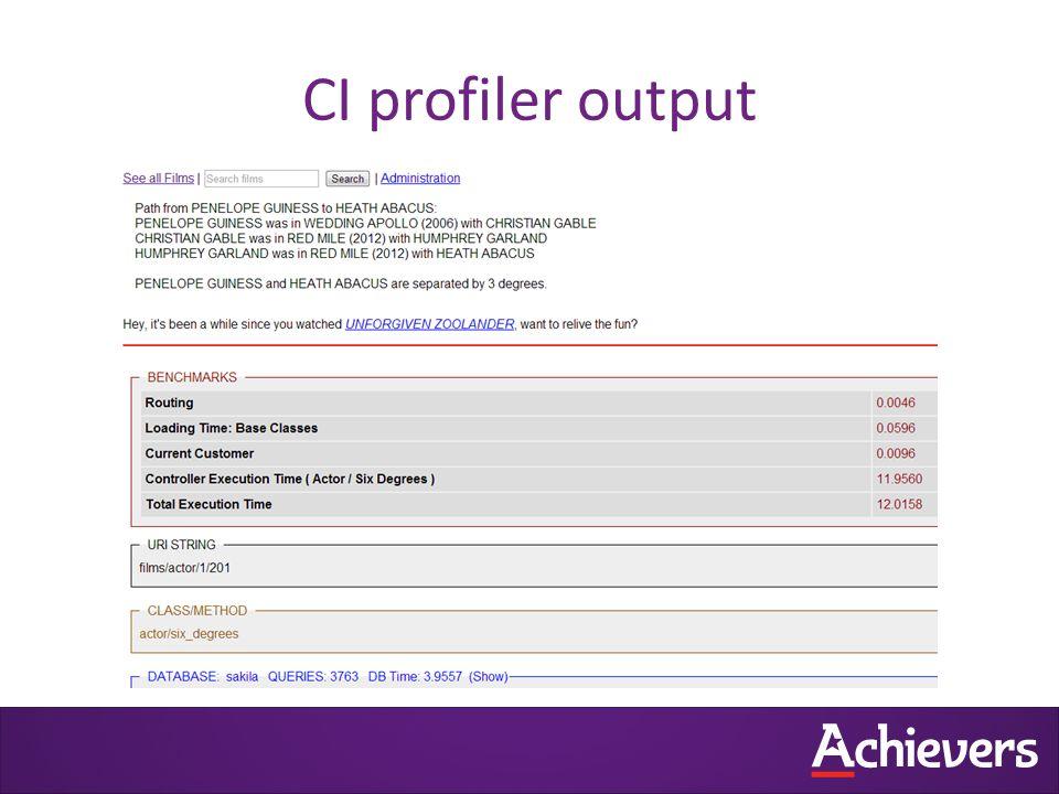 CI profiler output