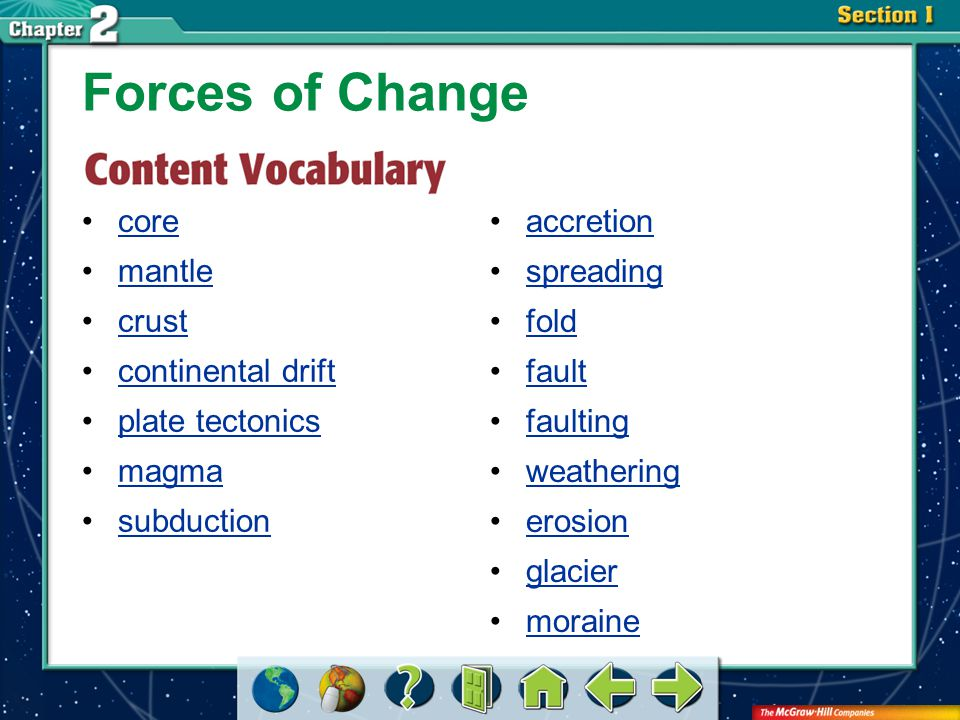Section 2-GTR core Forces of Change accretion spreading fold fault faulting weathering erosion glacier moraine mantle crust continental drift plate te