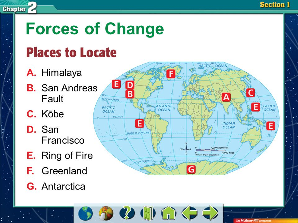 Section 2-GTR Forces of Change A.Himalaya B.San Andreas Fault C.Kōbe D.San Francisco E.Ring of Fire F.Greenland G.Antarctica
