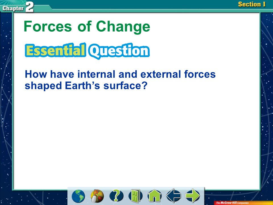 Section 2-GTR Forces of Change How have internal and external forces shaped Earth's surface?