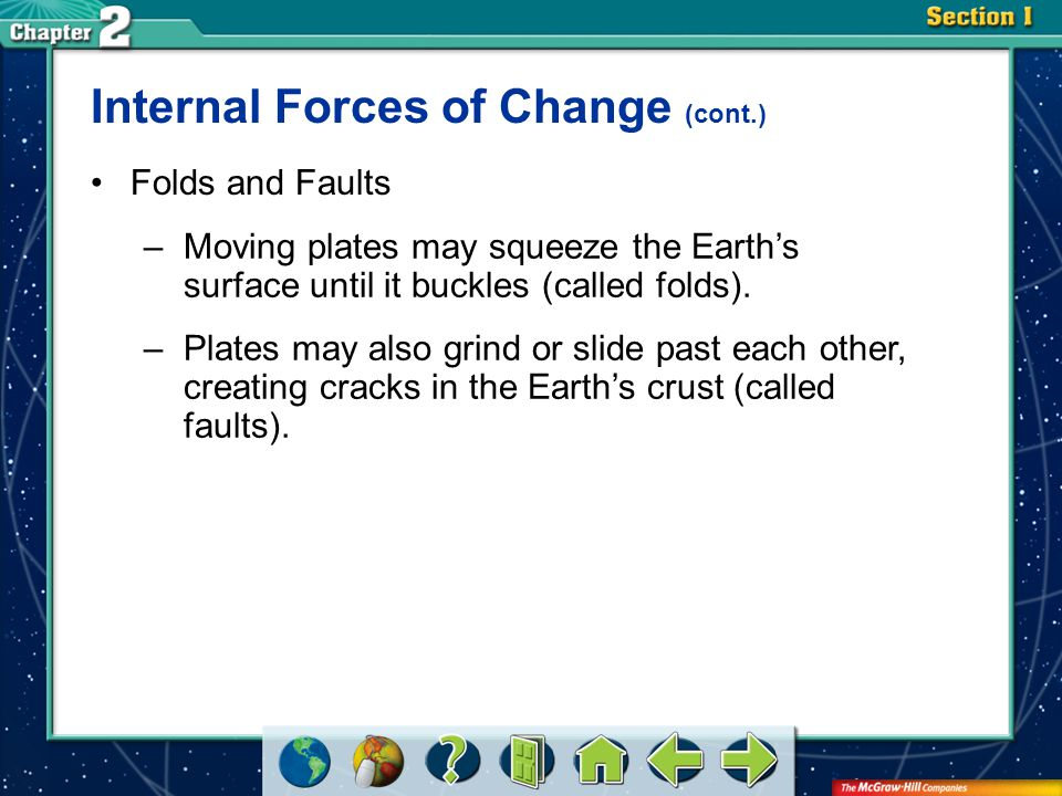 Section 2 Folds and Faults –Moving plates may squeeze the Earth's surface until it buckles (called folds). –Plates may also grind or slide past each o