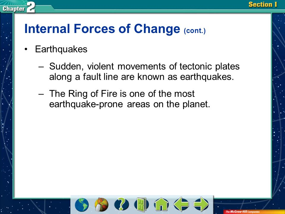 Section 2 Earthquakes –Sudden, violent movements of tectonic plates along a fault line are known as earthquakes. –The Ring of Fire is one of the most