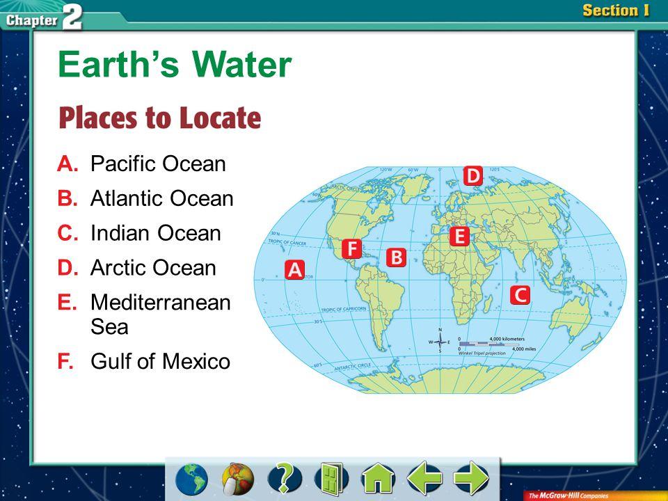 Section 3-GTR A.Pacific Ocean Earth's Water B.Atlantic Ocean C.Indian Ocean D.Arctic Ocean E.Mediterranean Sea F.Gulf of Mexico