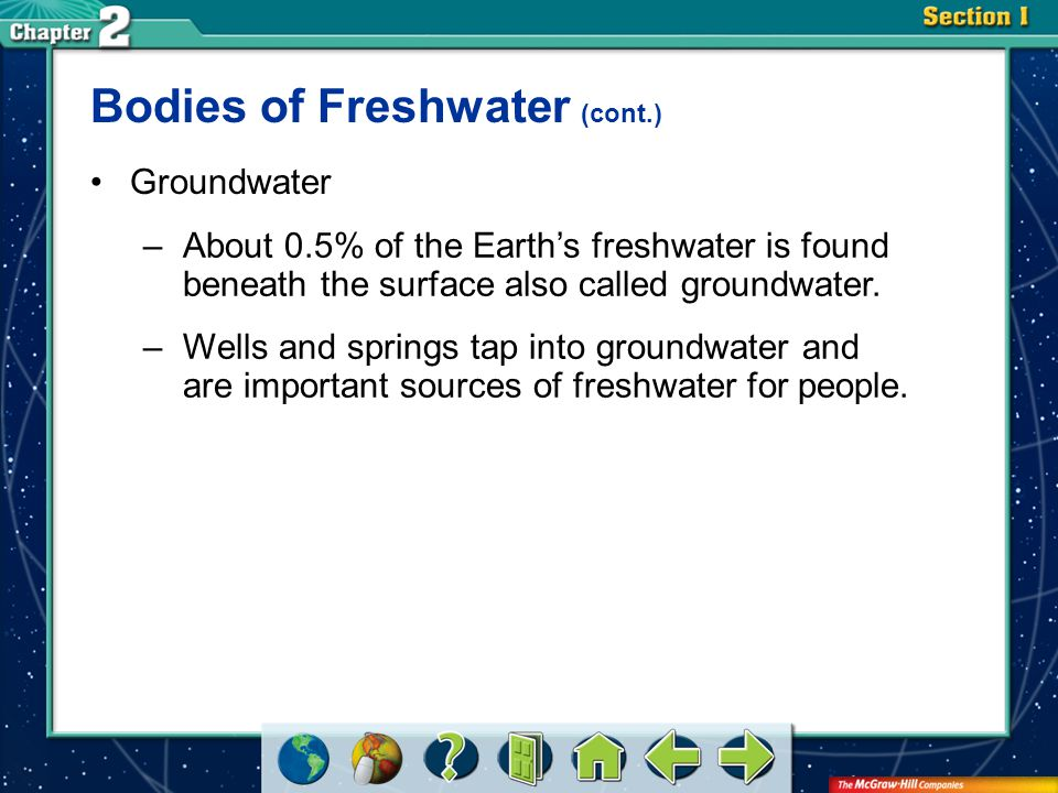 Section 3 Bodies of Freshwater (cont.) Groundwater –About 0.5% of the Earth's freshwater is found beneath the surface also called groundwater. –Wells
