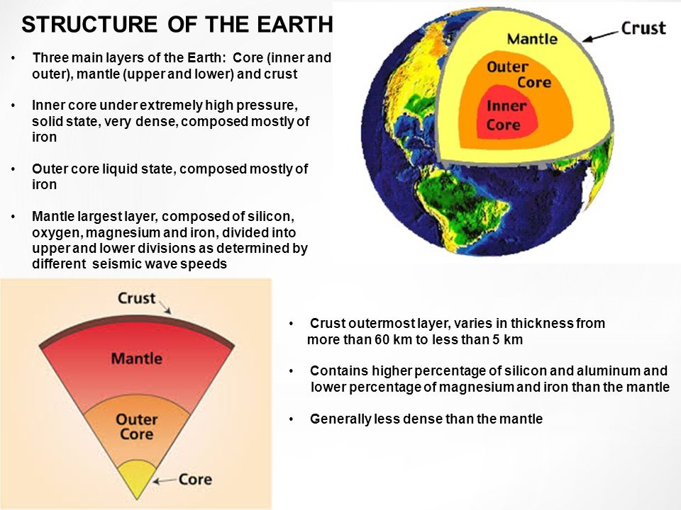 Three main layers of the Earth: Core (inner and outer), mantle (upper and lower) and crustThree main layers of the Earth: Core (inner and outer), mantle (upper and lower) and crust Inner core under extremely high pressure, solid state, very dense, composed mostly of ironInner core under extremely high pressure, solid state, very dense, composed mostly of iron Outer core liquid state, composed mostly of ironOuter core liquid state, composed mostly of iron Mantle largest layer, composed of silicon, oxygen, magnesium and iron, divided into upper and lower divisions as determined by different seismic wave speedsMantle largest layer, composed of silicon, oxygen, magnesium and iron, divided into upper and lower divisions as determined by different seismic wave speeds STRUCTURE OF THE EARTH Crust outermost layer, varies in thickness from more than 60 km to less than 5 km Contains higher percentage of silicon and aluminum and lower percentage of magnesium and iron than the mantle Generally less dense than the mantle