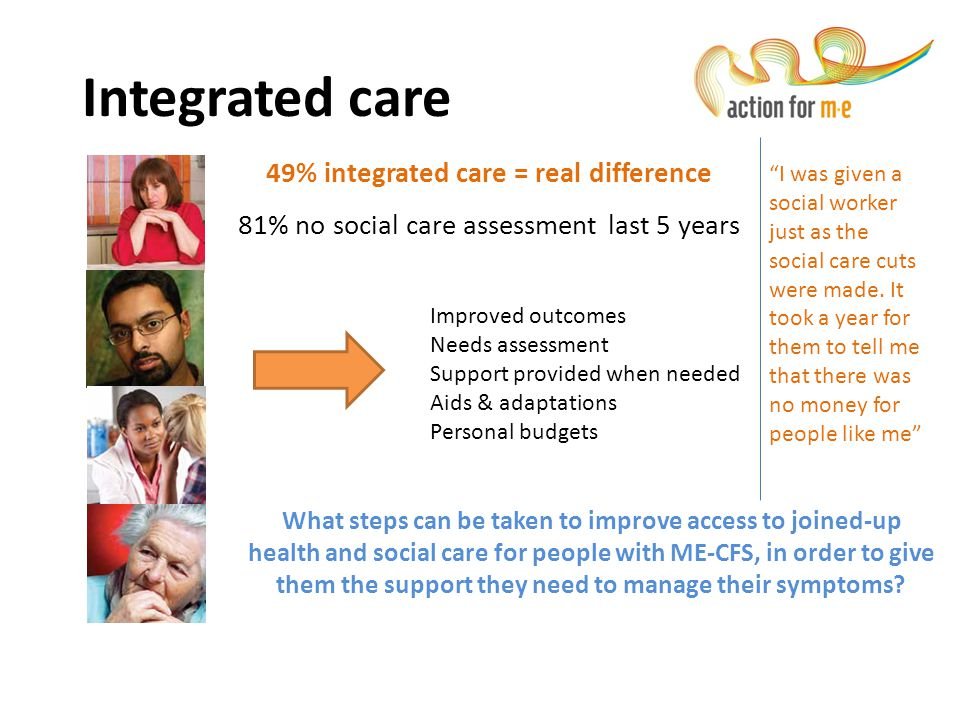 49% integrated care = real difference 81% no social care assessment last 5 years Integrated care Improved outcomes Needs assessment Support provided w