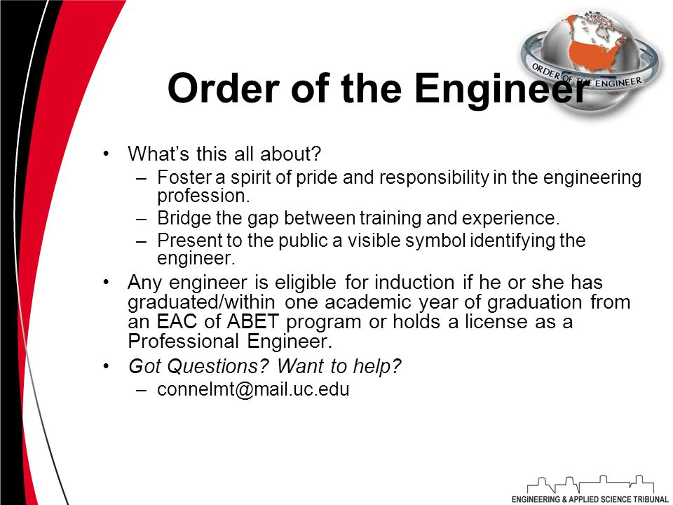Order of the Engineer What's this all about.