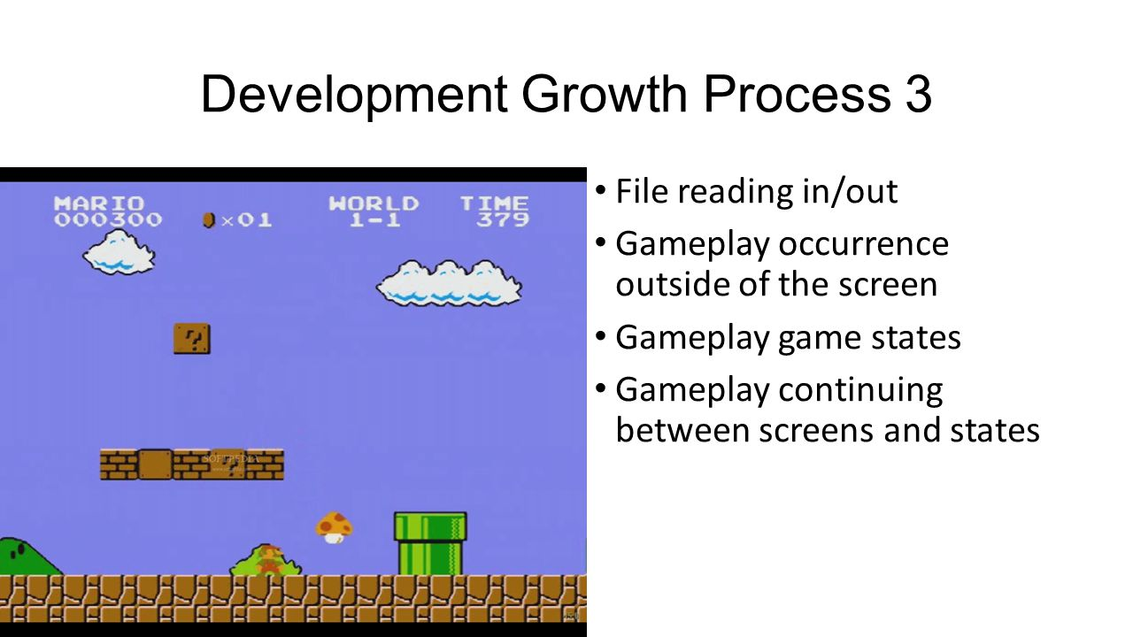 Development Growth Process 3 File reading in/out Gameplay occurrence outside of the screen Gameplay game states Gameplay continuing between screens and states