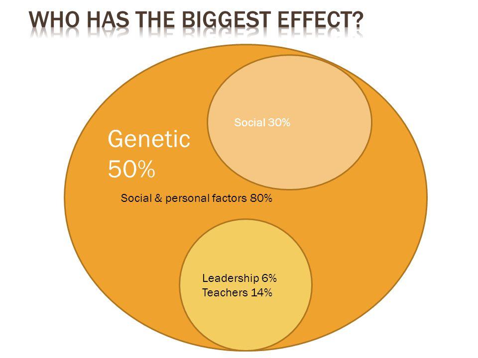 Social & personal factors 80% Social 30% Leadership 6% Teachers 14% Genetic 50%