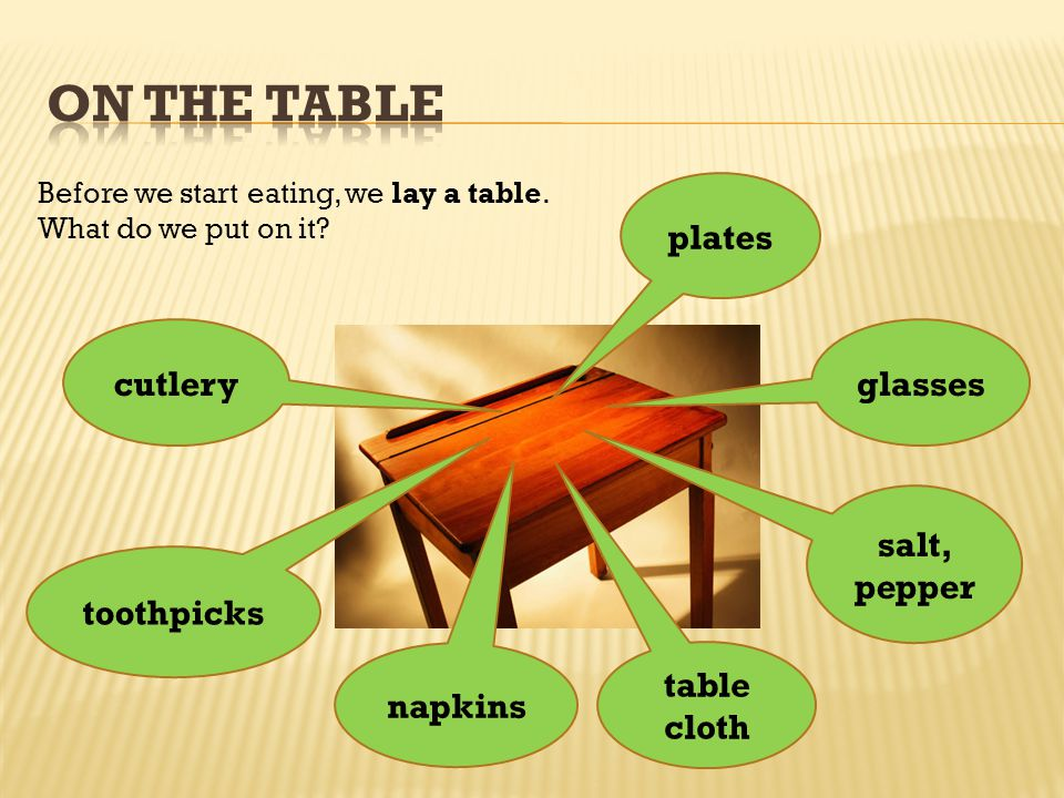 Before we start eating, we lay a table. What do we put on it.