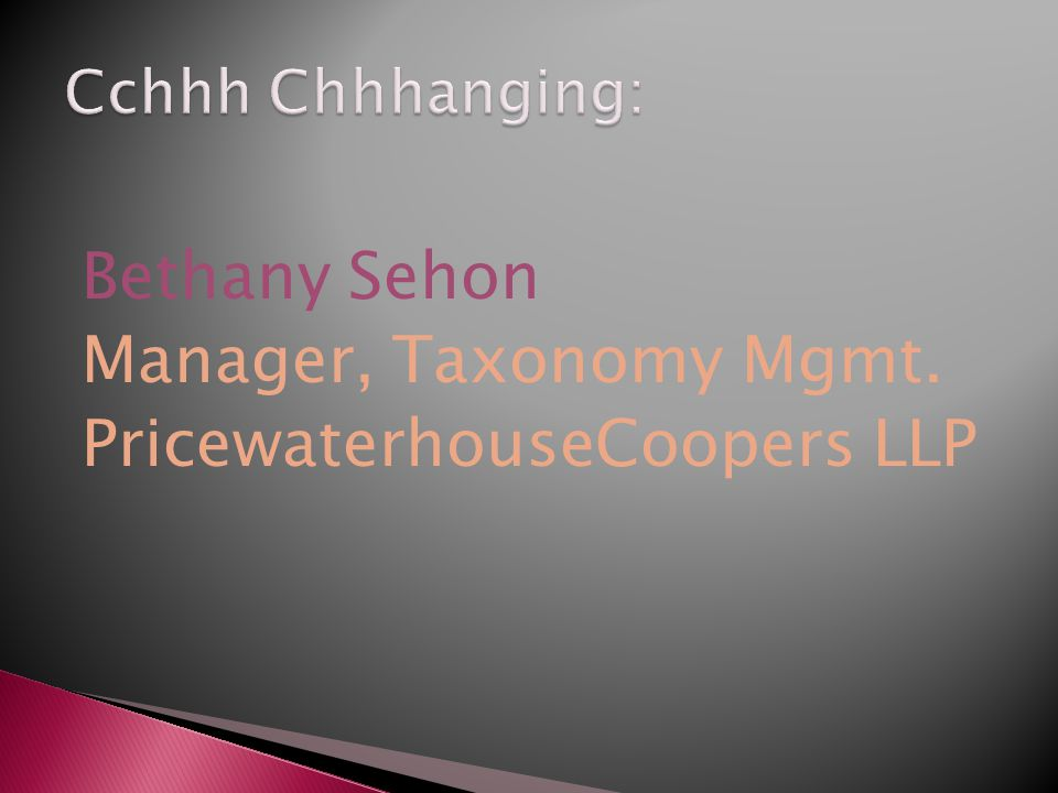 Bethany Sehon Manager, Taxonomy Mgmt. PricewaterhouseCoopers LLP