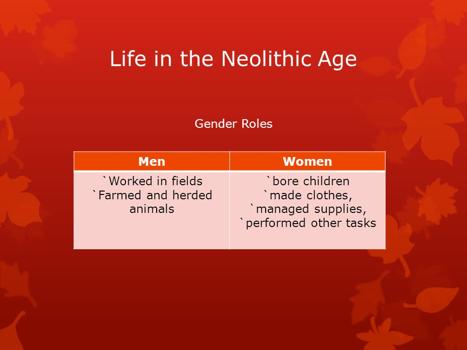 Life in the Neolithic Age Gender Roles MenWomen `Worked in fields `Farmed and herded animals `bore children `made clothes, `managed supplies, `perform