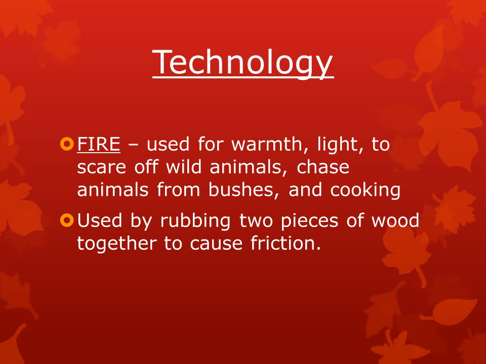 Technology  FIRE – used for warmth, light, to scare off wild animals, chase animals from bushes, and cooking  Used by rubbing two pieces of wood tog