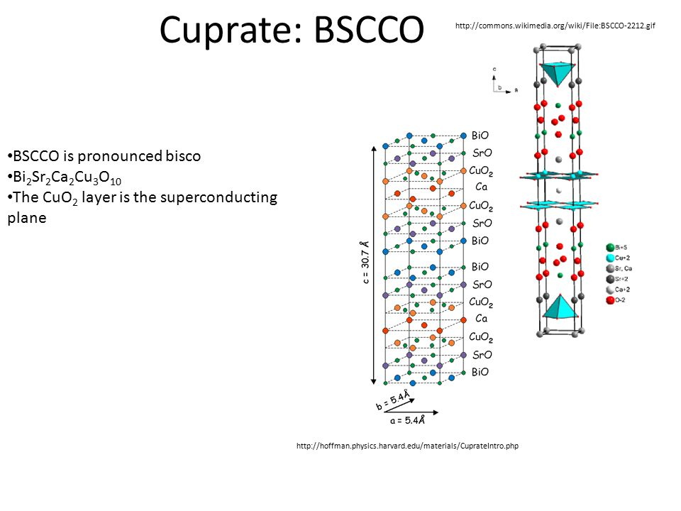 Cuprate: BSCCO http://commons.wikimedia.org/wiki/File:BSCCO-2212.gif http://hoffman.physics.harvard.edu/materials/CuprateIntro.php BSCCO is pronounced