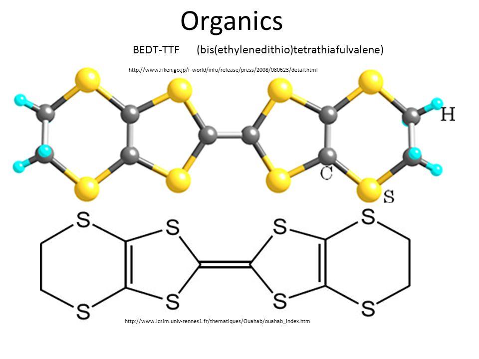 Organics http://www.riken.go.jp/r-world/info/release/press/2008/080623/detail.html (bis(ethylenedithio)tetrathiafulvalene) http://www.lcsim.univ-rennes1.fr/thematiques/Ouahab/ouahab_index.htm BEDT-TTF