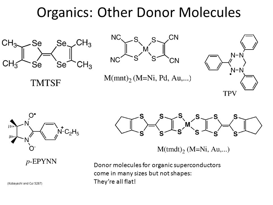 Organics: Other Donor Molecules (Kobayashi and Cui 5267) Donor molecules for organic superconductors come in many sizes but not shapes: They're all flat!