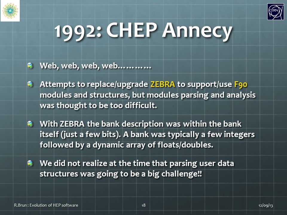 1992: CHEP Annecy Web, web, web, web………… Attempts to replace/upgrade ZEBRA to support/use F90 modules and structures, but modules parsing and analysis was thought to be too difficult.