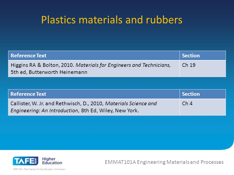 TAFE NSW -Technical and Further Education Commission Plastics materials and rubbers EMMAT101A Engineering Materials and Processes Reference TextSection Higgins RA & Bolton, 2010.