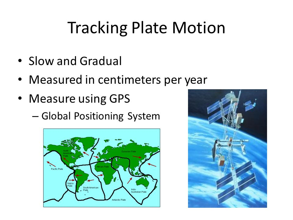 Tracking Plate Motion Slow and Gradual Measured in centimeters per year Measure using GPS – Global Positioning System