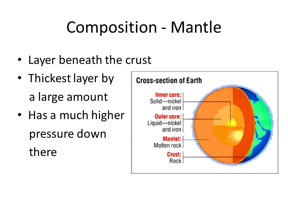 Composition - Mantle Layer beneath the crust Thickest layer by a large amount Has a much higher pressure down there