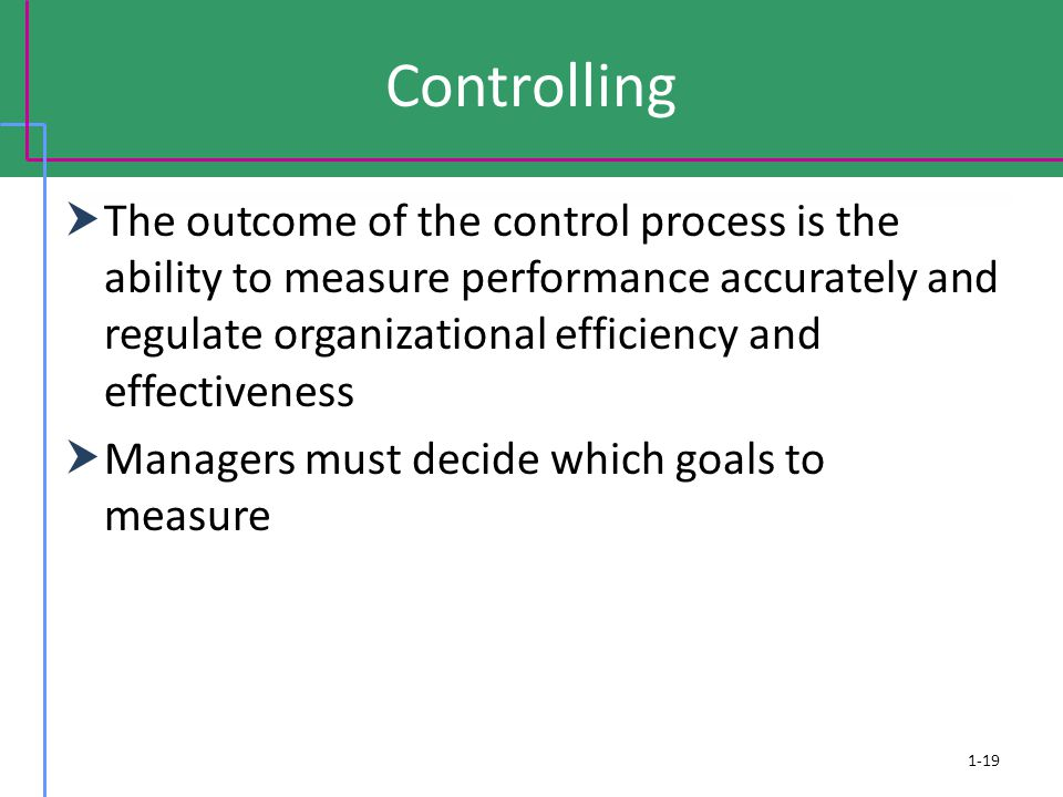 Controlling  The outcome of the control process is the ability to measure performance accurately and regulate organizational efficiency and effectiveness  Managers must decide which goals to measure 1-19