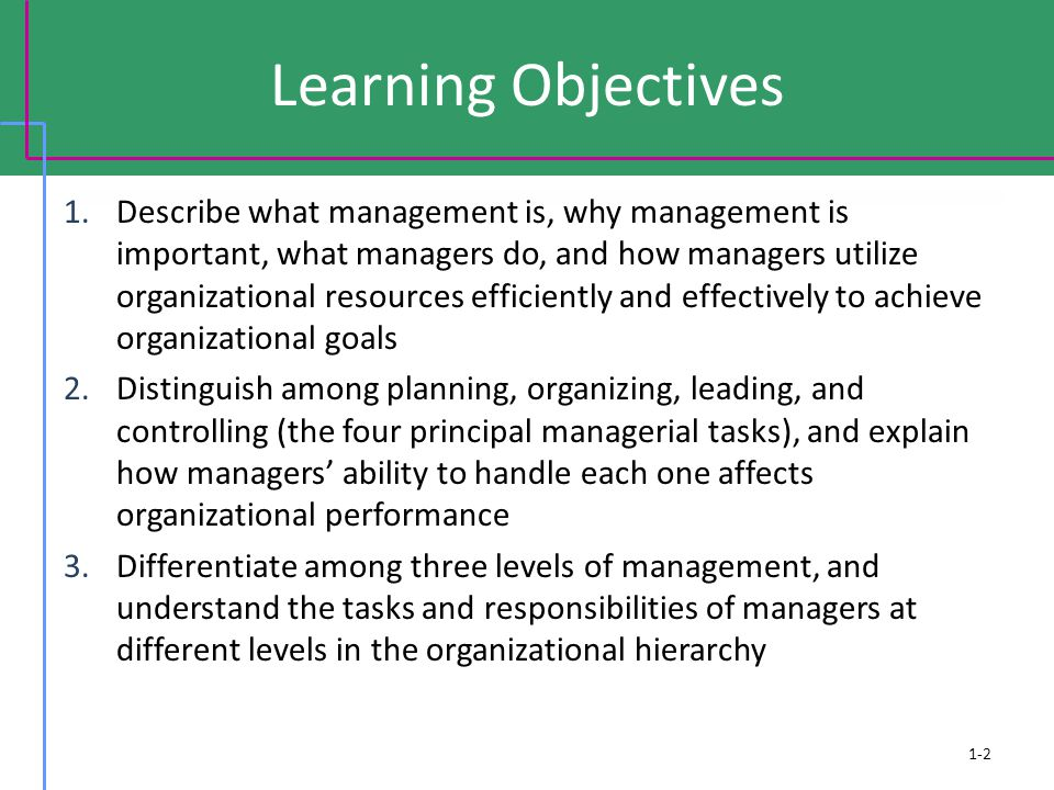 Learning Objectives 1.Describe what management is, why management is important, what managers do, and how managers utilize organizational resources efficiently and effectively to achieve organizational goals 2.Distinguish among planning, organizing, leading, and controlling (the four principal managerial tasks), and explain how managers' ability to handle each one affects organizational performance 3.Differentiate among three levels of management, and understand the tasks and responsibilities of managers at different levels in the organizational hierarchy 1-2