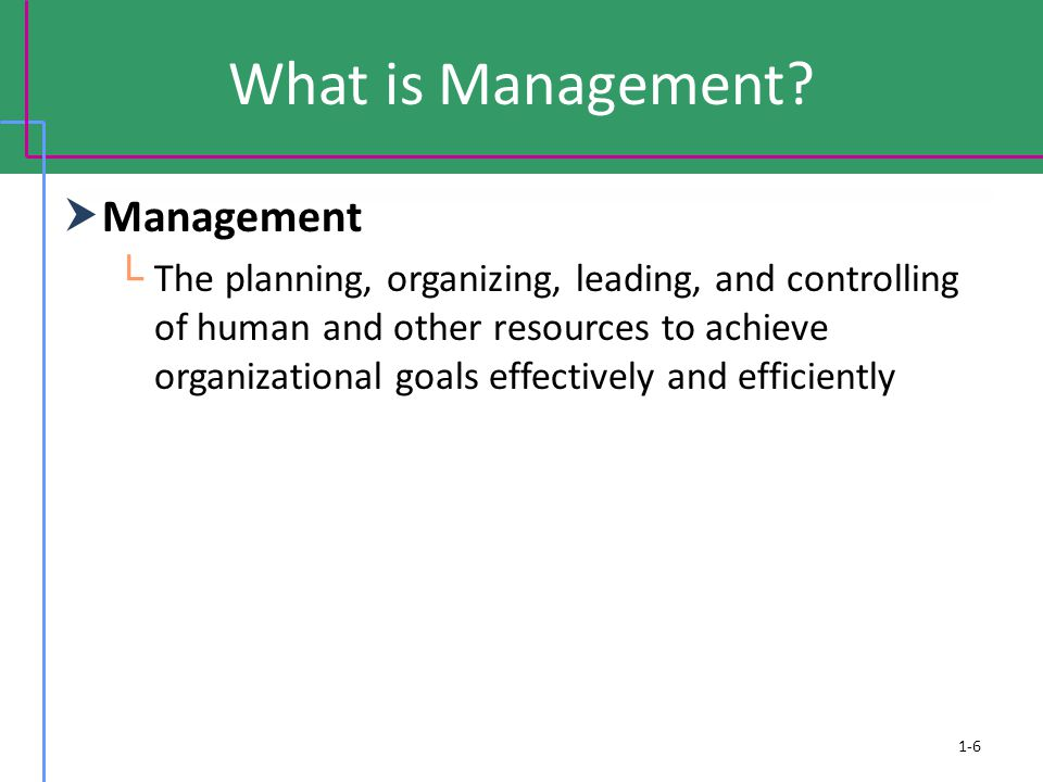 What is Management?  Management └ The planning, organizing, leading, and controlling of human and other resources to achieve organizational goals eff