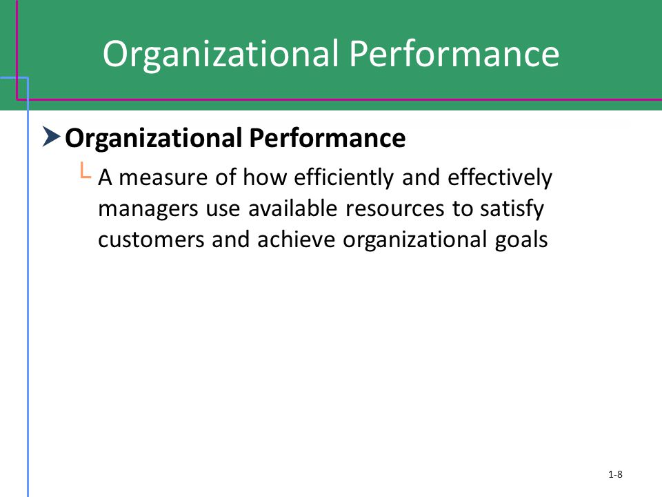 Organizational Performance  Efficiency └ A measure of how well or how productively resources are used to achieve a goal  Effectiveness └ A measure of the appropriateness of the goals an organization is pursuing and the degree to which they are achieved.