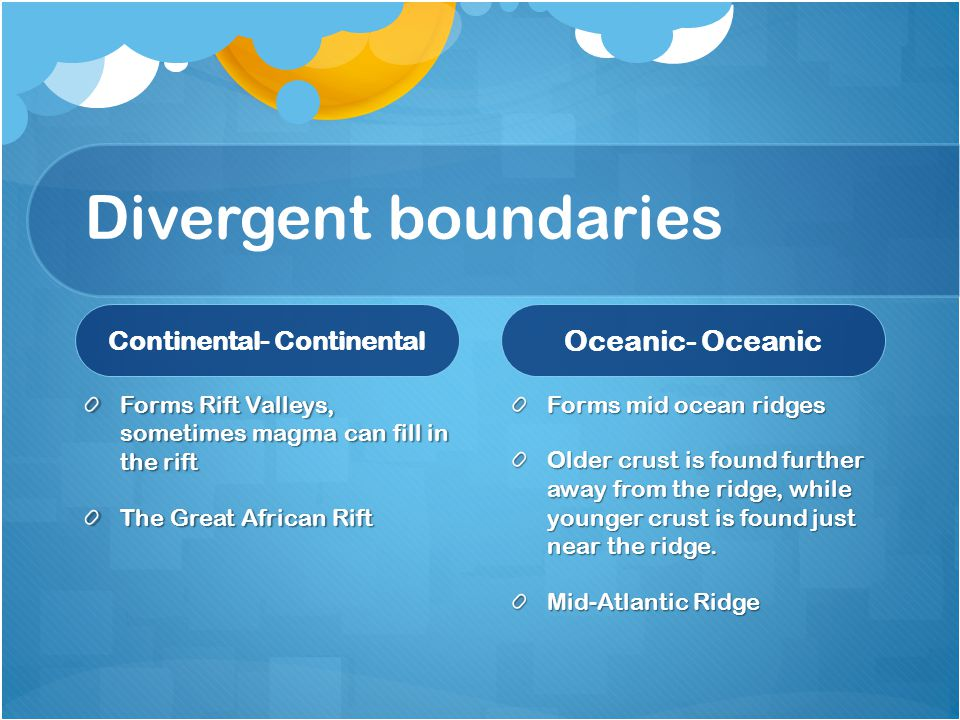 Divergent boundaries Continental- Continental Forms Rift Valleys, sometimes magma can fill in the rift The Great African Rift Oceanic- Oceanic Forms mid ocean ridges Older crust is found further away from the ridge, while younger crust is found just near the ridge.