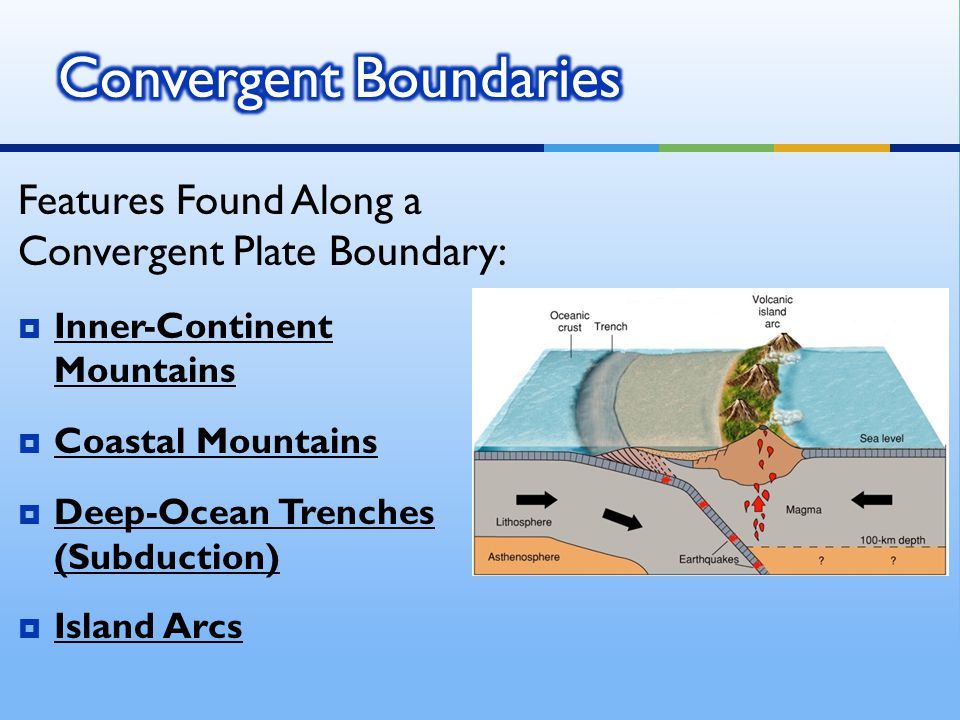 Features Found Along a Convergent Plate Boundary:  Inner-Continent Mountains  Coastal Mountains  Deep-Ocean Trenches (Subduction)  Island Arcs
