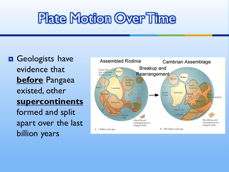  Geologists have evidence that before Pangaea existed, other supercontinents formed and split apart over the last billion years