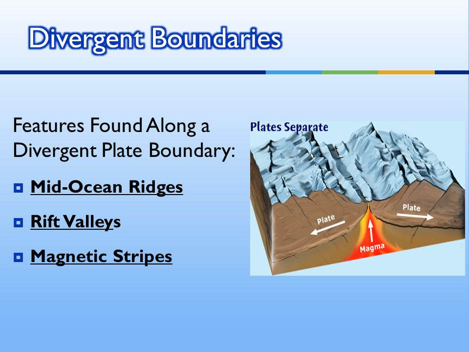 Features Found Along a Divergent Plate Boundary:  Mid-Ocean Ridges  Rift Valleys  Magnetic Stripes