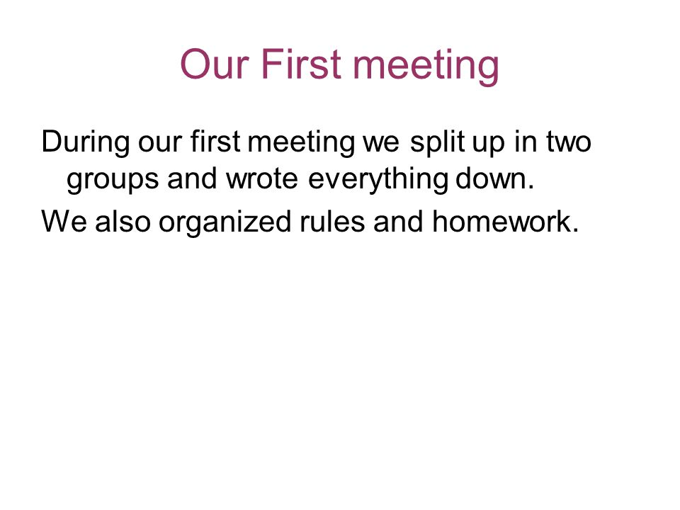 Our First meeting During our first meeting we split up in two groups and wrote everything down.