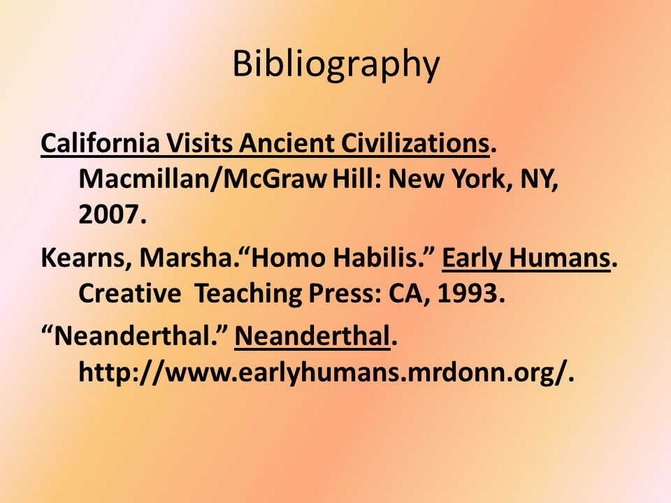 End Notes 1.Kearns, Marsha, Australopithecus, Early Humans, p.