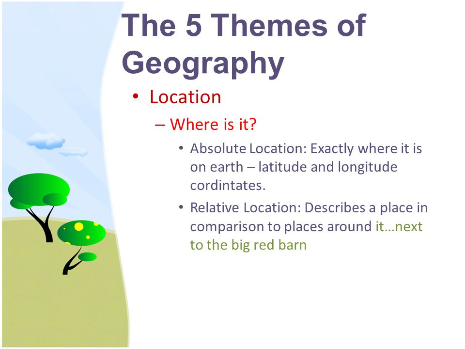 The 5 Themes of Geography Location – Where is it.