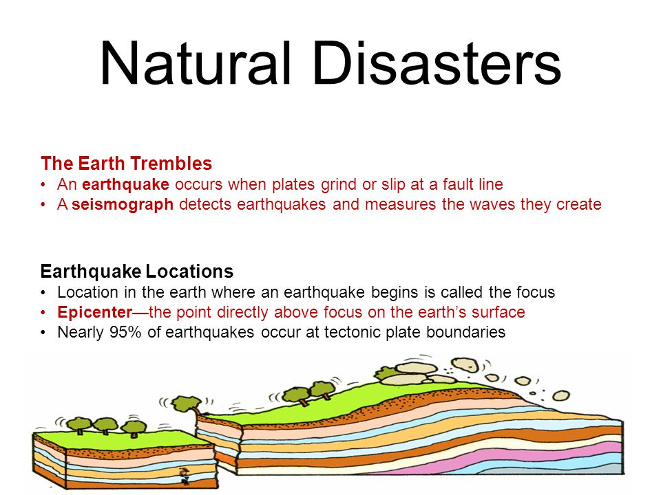 Natural Disasters The Earth Trembles An earthquake occurs when plates grind or slip at a fault line A seismograph detects earthquakes and measures the waves they create Earthquake Locations Location in the earth where an earthquake begins is called the focus Epicenter—the point directly above focus on the earth's surface Nearly 95% of earthquakes occur at tectonic plate boundaries