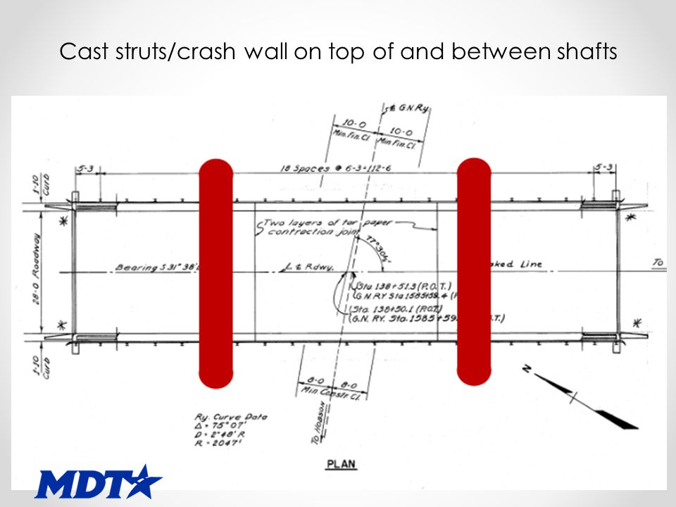 Cast struts/crash wall on top of and between shafts