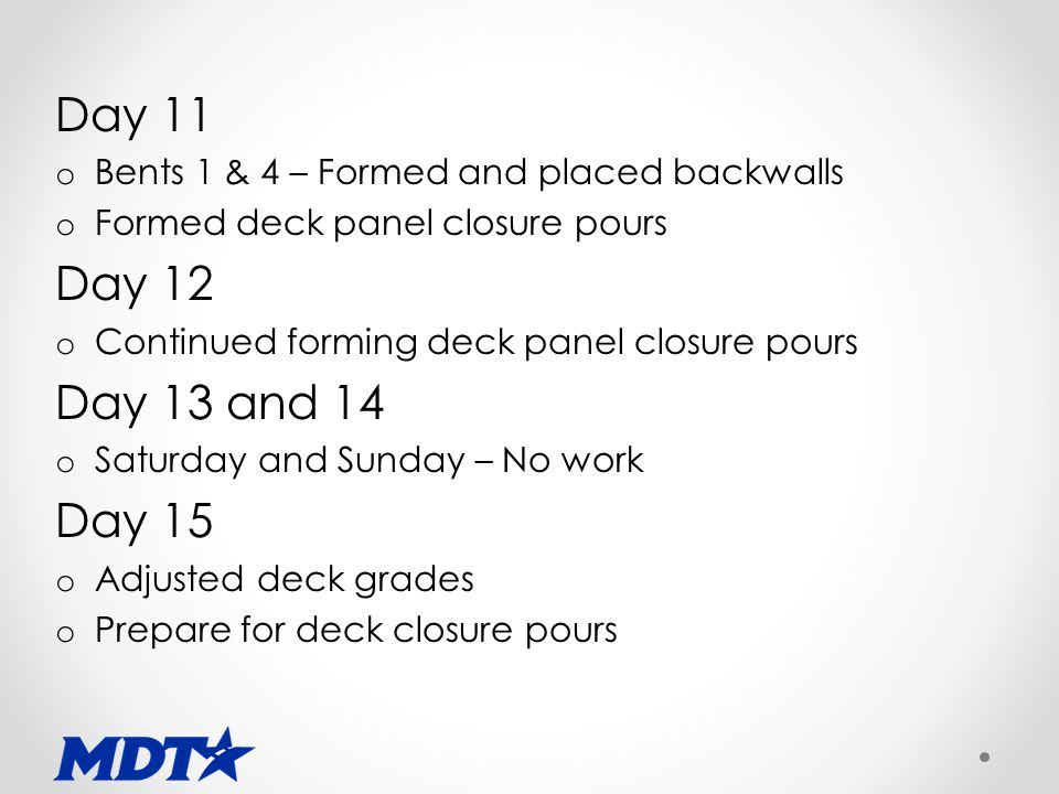 Day 11 o Bents 1 & 4 – Formed and placed backwalls o Formed deck panel closure pours Day 12 o Continued forming deck panel closure pours Day 13 and 14 o Saturday and Sunday – No work Day 15 o Adjusted deck grades o Prepare for deck closure pours