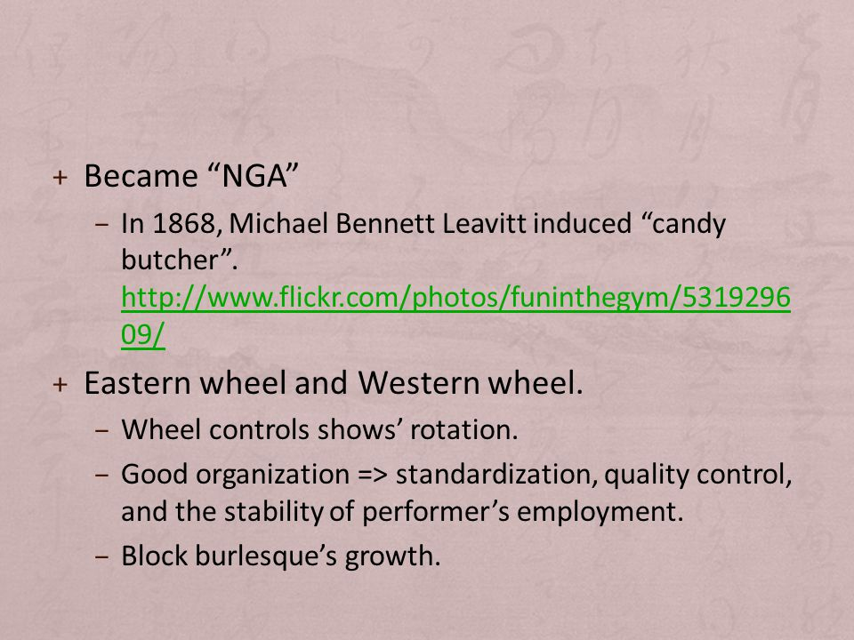 + Became NGA – In 1868, Michael Bennett Leavitt induced candy butcher .