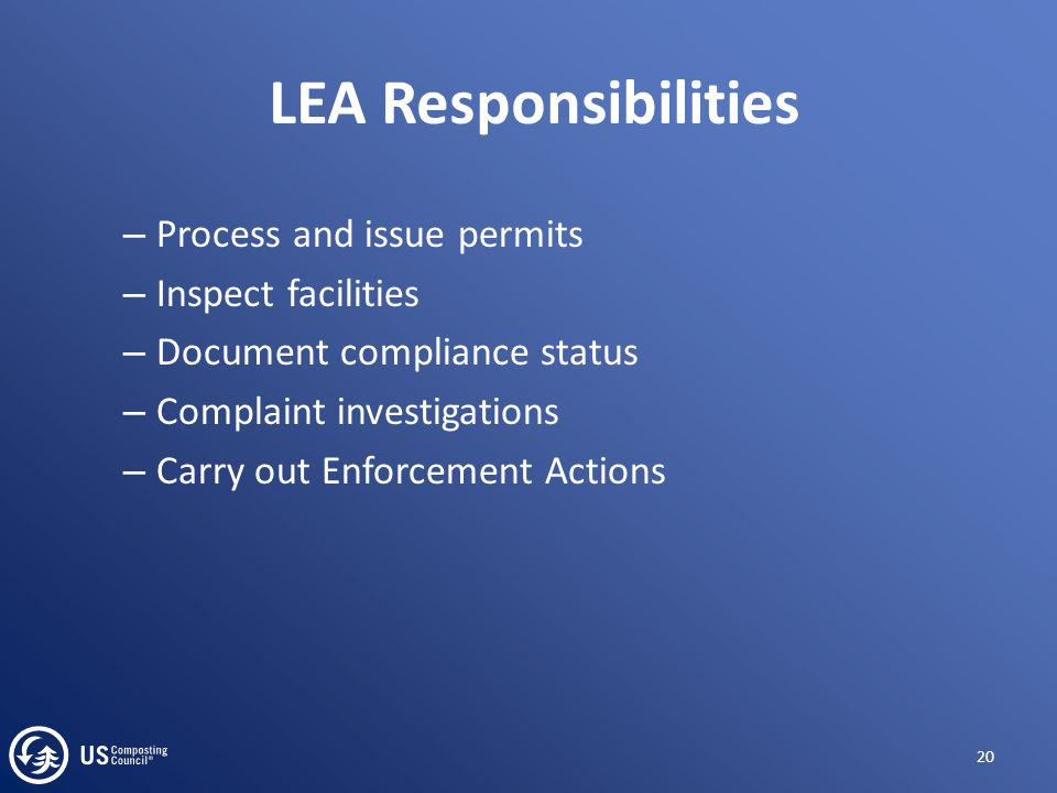 – Process and issue permits – Inspect facilities – Document compliance status – Complaint investigations – Carry out Enforcement Actions 20 LEA Respon
