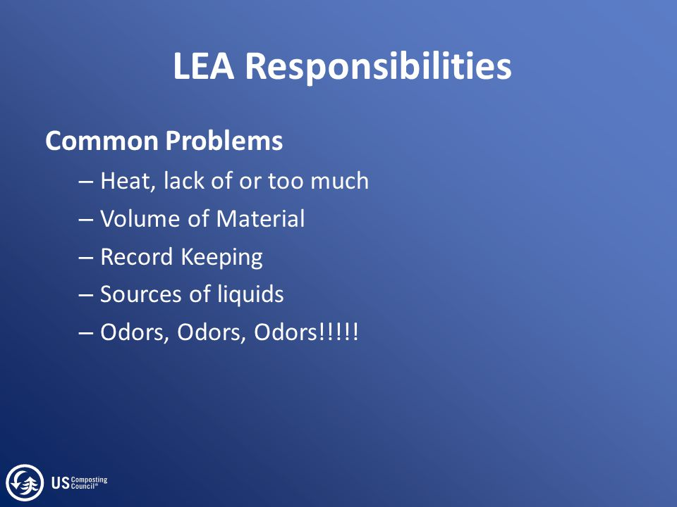 LEA Responsibilities Common Problems – Heat, lack of or too much – Volume of Material – Record Keeping – Sources of liquids – Odors, Odors, Odors!!!!!