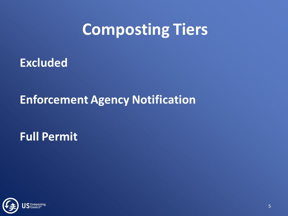Composting Tiers Excluded Enforcement Agency Notification Full Permit 5