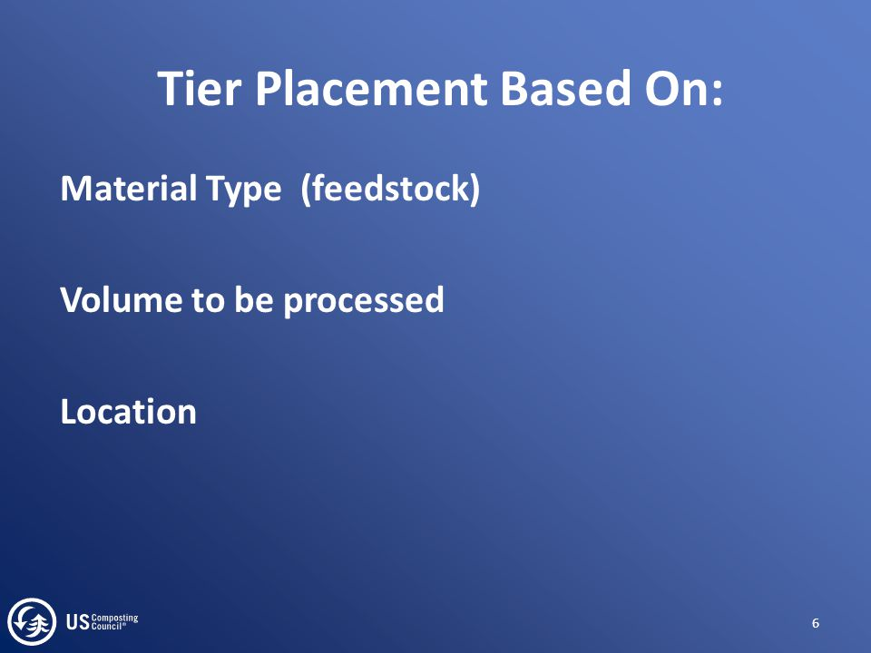 Tier Placement Based On: Material Type (feedstock) Volume to be processed Location 6