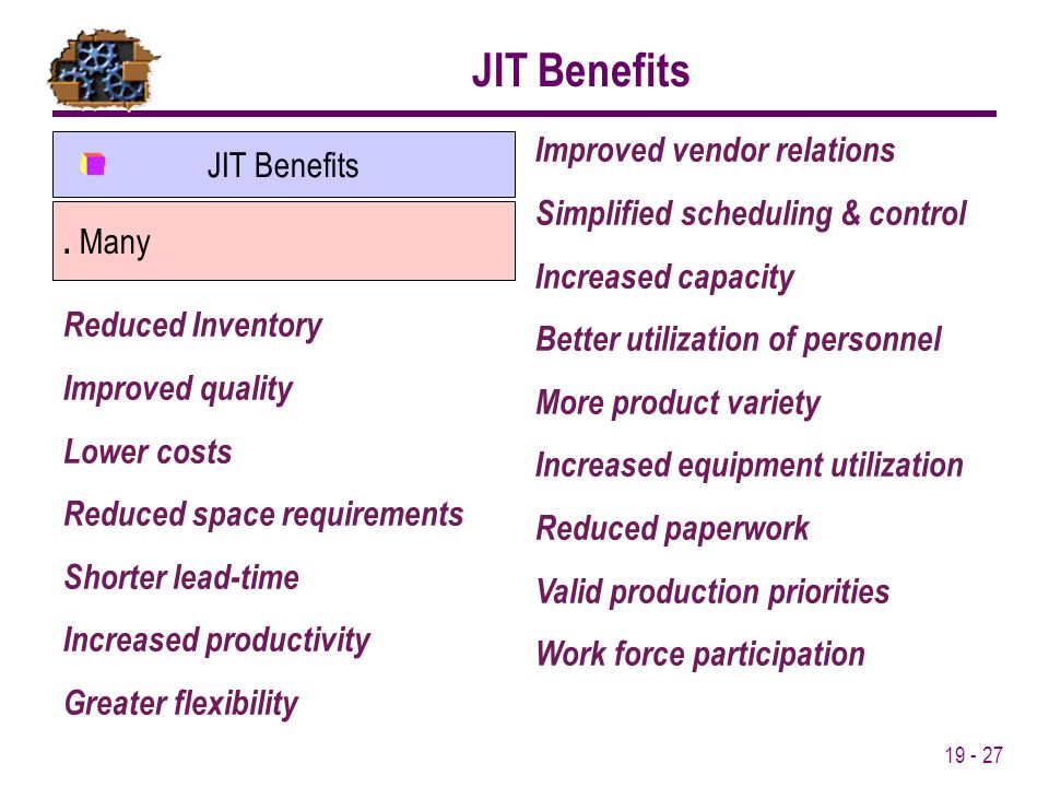 19 - 27 JIT Benefits. Many JIT Benefits Reduced Inventory Improved quality Lower costs Reduced space requirements Shorter lead-time Increased producti