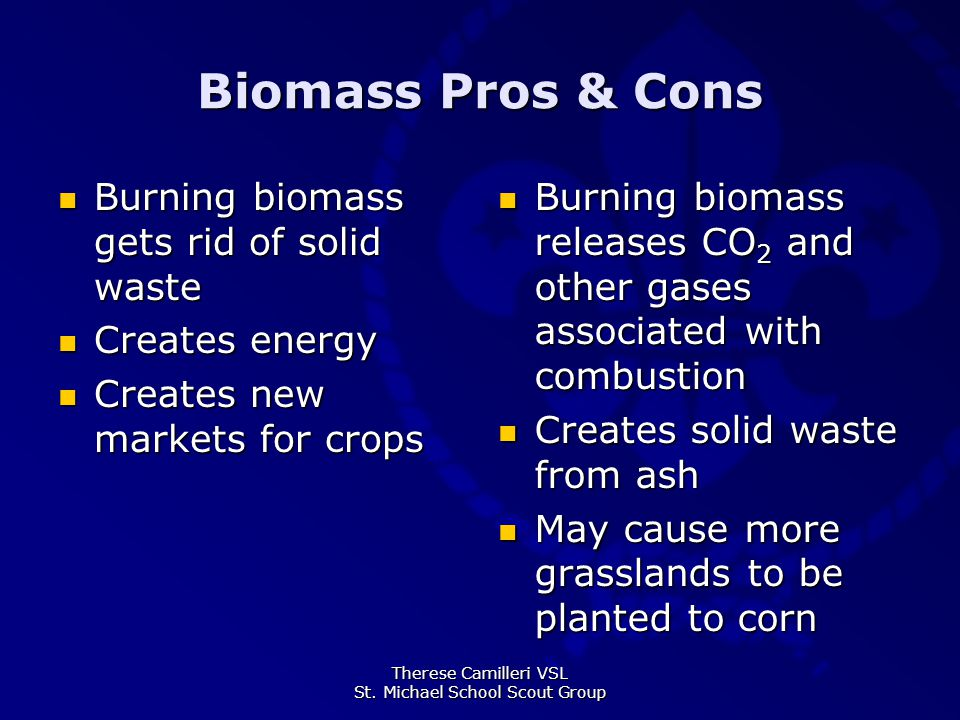 Therese Camilleri VSL St. Michael School Scout Group Biomass Pros & Cons Burning biomass gets rid of solid waste Burning biomass gets rid of solid was