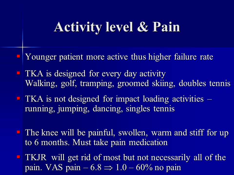 Activity level & Pain  Younger patient more active thus higher failure rate  TKA is designed for every day activity Walking, golf, tramping, groomed skiing, doubles tennis  TKA is not designed for impact loading activities – running, jumping, dancing, singles tennis  The knee will be painful, swollen, warm and stiff for up to 6 months.