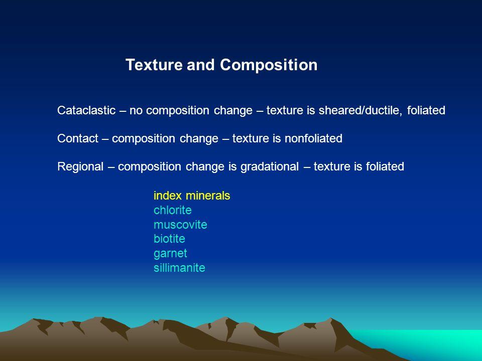 Regional – composition change is gradational – texture is foliated index minerals chlorite muscovite biotite garnet sillimanite Slate Phyllite Schist Gneiss Increasing metamorphism Increasing metamorphism