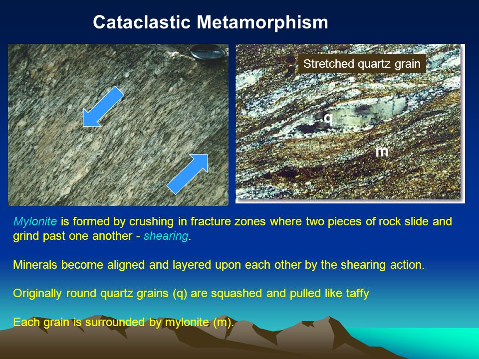 Mylonite is formed by crushing in fracture zones where two pieces of rock slide and grind past one another - shearing.