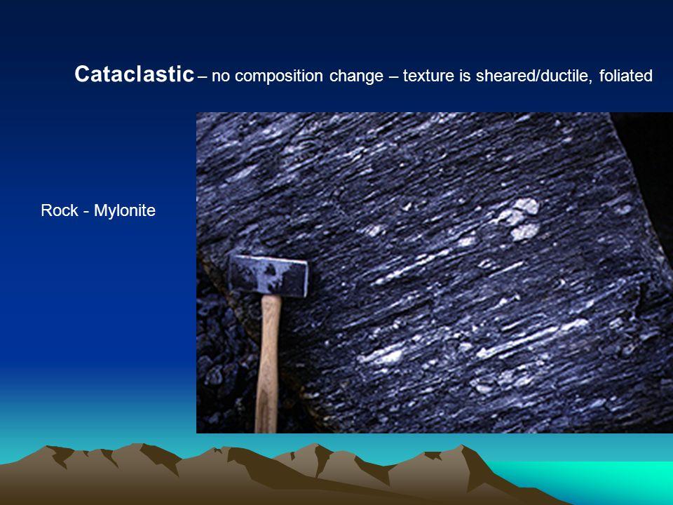 Metamorphic Rocks (7) Contact Metamorphic Marble Quartzite Regional Metamorphic Slate (L) Phyllite (R) Schist Gneiss Cataclastic Metamorphic Mylonite