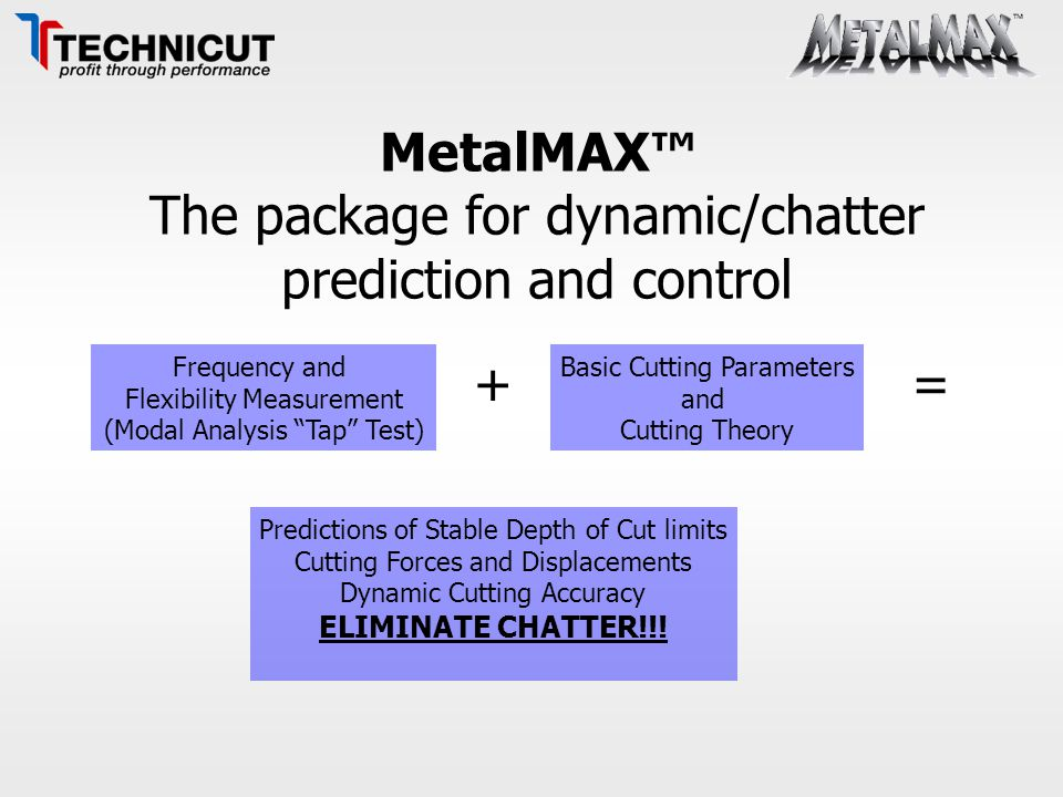 """MetalMAX™ The package for dynamic/chatter prediction and control Frequency and Flexibility Measurement (Modal Analysis """"Tap"""" Test) + Basic Cutting Par"""
